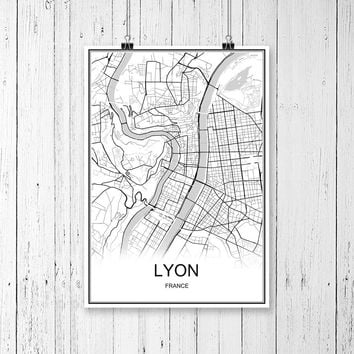 LYON France World City Map Print Poster Abstract Coated Paper Bar Cafe Pub Living Room Home Decoration Wall Sticker 42x30cm