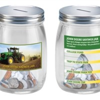John Deere Tractor Glass Savings Jar