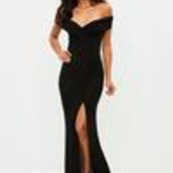 Missguided - Black Slinky Bardot Wrap Front Split Maxi Dress