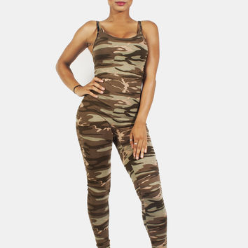 Camo Sleeveless Jumpsuit Catsuit