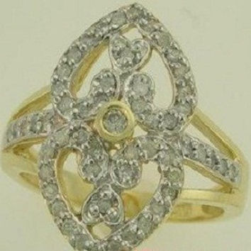 Genuine 0.50ct. vintage style right hand ring in 10k yellow gold size 4-10
