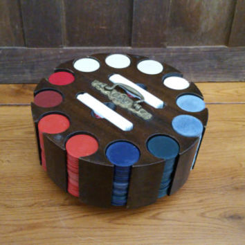 Vintage Wood Lazy Susan Poker Caddy Poker Chip Set With Cover And Clay Embossed Plastic Poker Chips