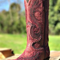red embroidered cowboy boot - corral boots - western heel boot - $298.99