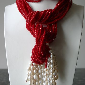 Red Crystal And White Freshwater Pearl Necklace