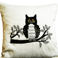 Decorative pillows with Owl embroidery- Ivory white silk pillow- Black sequin pillow -Sequin cushion -18x18 pillow - Halloween gift