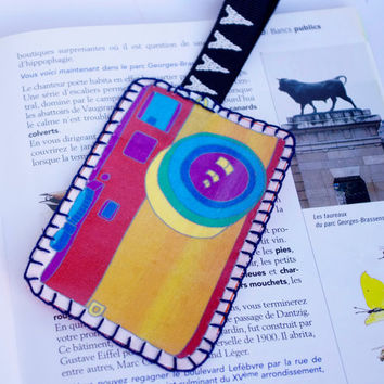 Camera rainbow bookmark, Fabric Bookmark Unusual Retro Embroidery
