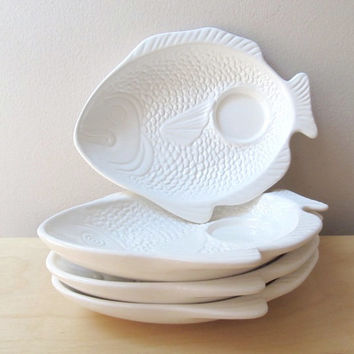 white ceramic fish plates seafood serving plates