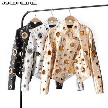 Trendy JYConline 2017 Fashion PU Women Jacket Autumn Metal Motor Punk Bomber Jacket Silver Golden Hollow Out Jacket Female Streetwear AT_94_13