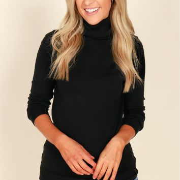Cowl It Love Turtleneck Top Black
