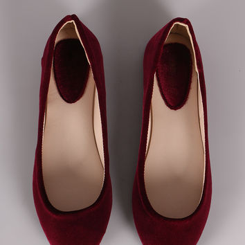 Crushed Velvet Slip On Ballet Flat | UrbanOG