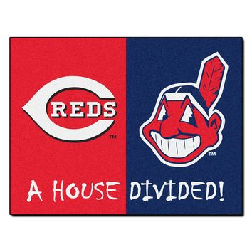 Cincinnati Reds - Cleveland Indians MLB House Divided Rugs 33.75x42.5