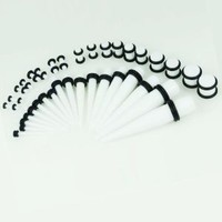 BodyJ4You® 36 Pieces Gauges Kit Pure White Tapers with Plugs 14G-00G Stretching Kit - 18 Pairs