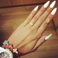 Matte White/Black Stiletto Rihanna inspired False nails set 10g nail glue included