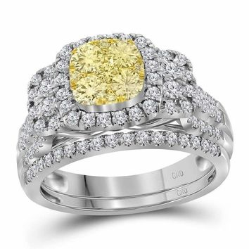 14kt White Gold Women's Round Yellow Diamond Bridal Wedding Engagement Ring Band Set 1-2 Cttw - FREE Shipping (US/CAN)