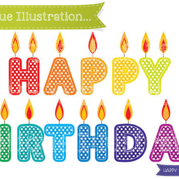 Happy Birthday Candles Clipart. Birthday Clipart. Candles Clip Art. Birthday Clipart. Happy Birthday Candle Vectors. Birthday Digital.