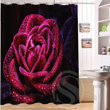 "2015 Hot sale Free Shipping Custom Elegant flower rose  waterproof Shower Curtain 60"" x 72"" best gift for Christmas"