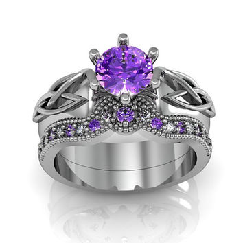 Celtic Ring:  Amethyst Sterling Silver Celtic Knot  Love and Friendship Engagement and Promise Solitaire Ring Set