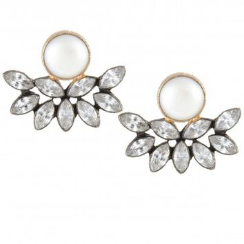 Pearl Stud Crystal Embellished Earrings | Calypso St. Barth