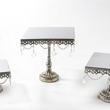 Opulent Treasures Antique Silver Cake Stand, Set of 3, Square Serving Plates, Metal, Chandelier Accents, Cupcake Wedding Dessert Display