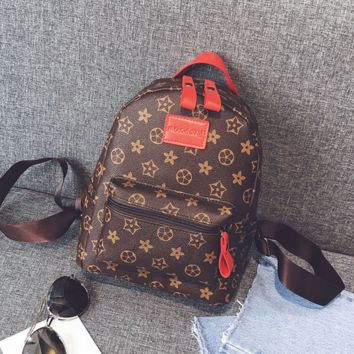 Vintage Printed Leather Backpack