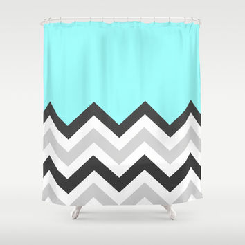 Color Blocked Chevron 16 Shower Curtain by Josrick