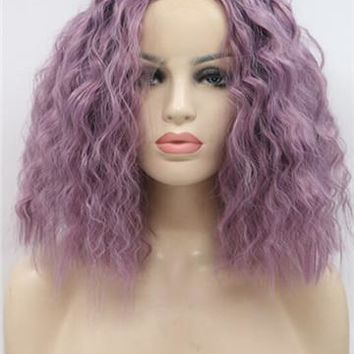 Short Lavender Purple Wet Curly Synthetic Lace Front Wig