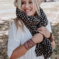 Tattersall Plaid Blanket Scarf - Black