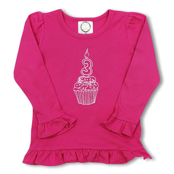 3rd Birthday Pink Long Sleeve Ruffle Tee