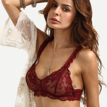 Underwear Bra With Steel Wire Lace Strap [8916728963]