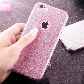 Glitter Powder Bling Cute 6 Cover Funda Fashion Ultra Thin Candy Crystal Soft TPU Phone Cases For iPhone 5 5s SE 6 6s Plus Case