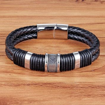 TYO Handmade Genuine Leather Weaved Double Layer Man Bracelets Casual/Sporty Bicycle Motorcycle Delicate Cool Men Jewelry