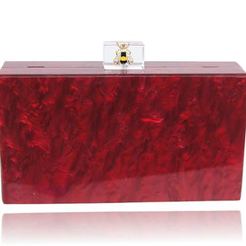 Yellow Bee Red Pearl Acrylic Box Clutch
