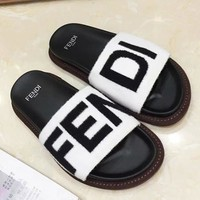 FENDI Women Fashion Fur Slipper Sandals Shoes