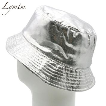 [Lymtm] women bright silver color bucket hat fashion leather men panama caps sun camping fishing hat