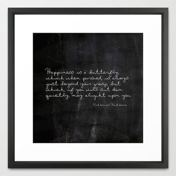 Typography Print - Nathaniel Hawthorne - Butterfly - Nature Quote - Typography - Black and White - Chalkboard Print - Housewarming Gift