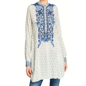 Johnny Was Galatia Silk Tunic~ Sangaboom Print