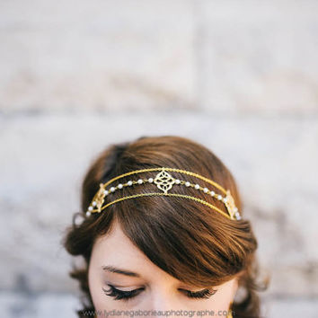 Roma Headpiece - Bridal headband gold plated 18K and japanese beads - art nouveau - great gatsby  1920s 20s - MADE TO MEASURE