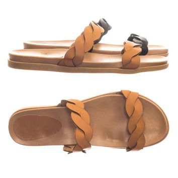 Mission41 Flexible Rubber Flat Slide In Slipper Sandal w Double Braided Strap