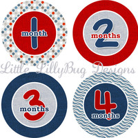 ON SALE Monthly Baby Milestone Stickers Baby Boy Red Blue Linen Shower Gift One-Piece Baby Stickers Monthly Baby Stickers Baby Month Sticker