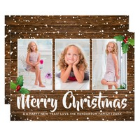 Rustic Country Winter Merry Christmas Photo Card