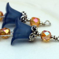 2 Piece Frosted Prussian Blue Lucite Flower with Golden Honey AB Czech Bead Drop Dangle Set