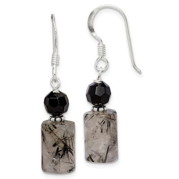 925 Sterling Silver Black Crystal & Tourmalinated Quartz Earrings