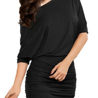 Ruched Batwing Sleeve One-Shoulder Mini Dress
