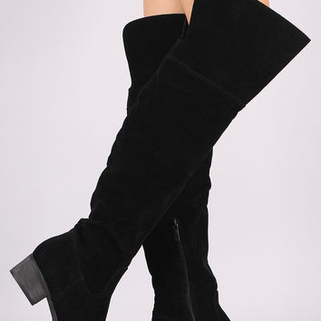 Suede Slit Riding Over-The-Knee Boots | UrbanOG