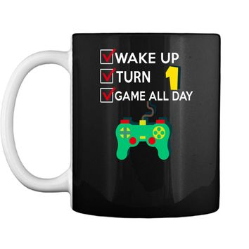1 Yr Old Boy Game All Day Gamer Birthday Party Shirt Outfit Mug