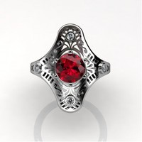 Mexican Art Deco 14K White Gold 1.0 Ct Ruby Diamond Engagement Ring Wedding Ring R351-14KWGDR