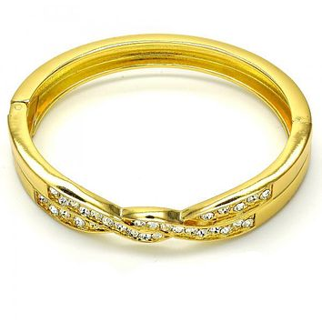 Gold Layered 07.252.0046.05 Individual Bangle, with White Crystal, Polished Finish, Golden Tone (09 MM Thickness, Size 5 - 2.50 Diameter)