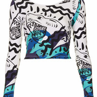 **OCEAN SHARK LONG SLEEVE CROP BY ILLUSTRATED PEOPLE