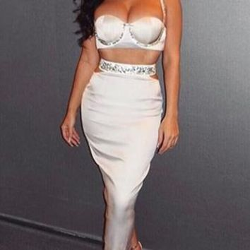 Perfect Pair White Satin Sleeveless Spaghetti Strap Bustier Crop Top Cut Out Two Piece Maxi Dress