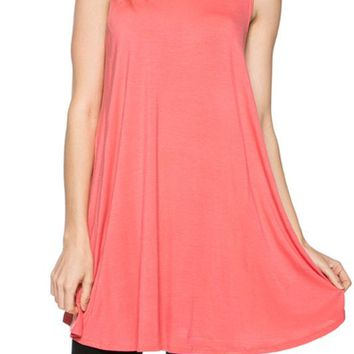 Women Round Neck Sleeveless Jersey Long Tunic Stretch Shirt Mini Dress Top